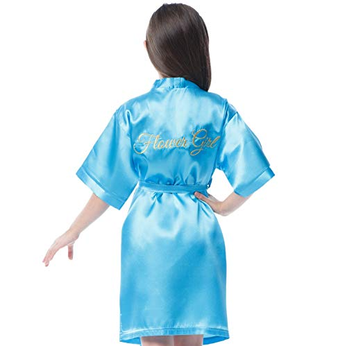 Satin Robe for Flower Girl with Gold Embroidery on The Back (Aqua Blue - Flower Girl in Gold, Kid, 4-7y)