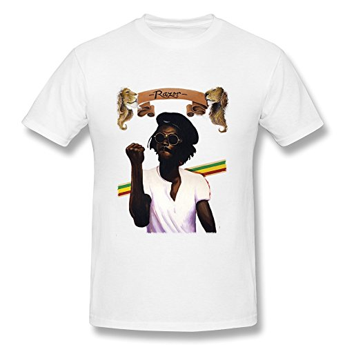 (LANFENG Men's Peter Tosh T-shirt Size XS White)