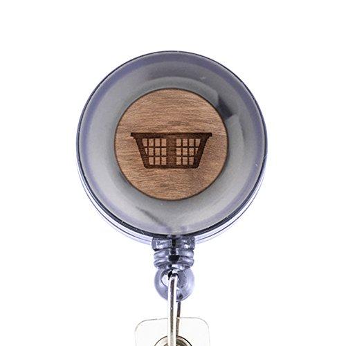 MODERN GOODS SHOP Hamper Id Badge Holder - Wooden ID Holder - Laser Engraved Design Custom ID Holder - Clip On Belt/Pocket Retractable ID Badge (Hampers Shop)