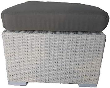 Taburete Puff Mesa Rattan sintético Blanco para Exterior Muebles Jardín cm 50 x 50: Amazon.es: Jardín