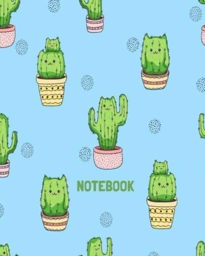 Notebook: Kawaii Cute Green Cactus Baby Blue Background 8x10 Large Notebook 120 Pages; Journal