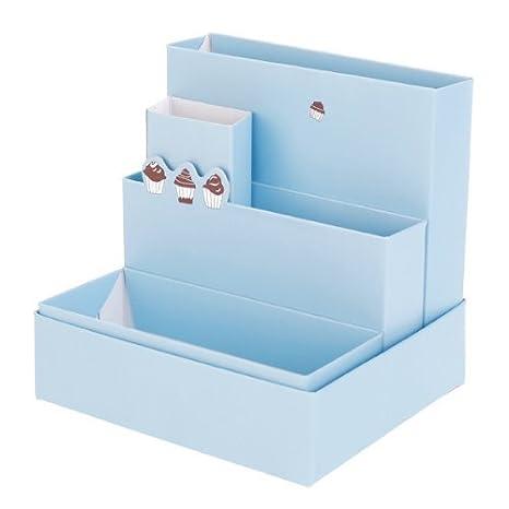 DIY cartulina material de oficina con diseño caja de almacenamiento de maquillaje caja organizador de escritorio: Amazon.es: Hogar