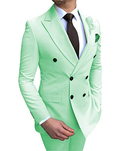 (Aesido Men's Suits 2 Pieces Double Breasted Regular Fit Notch Lapel Solid Prom Tuxedos Wedding (Blazer+Pants)(Mint Green,56US) )
