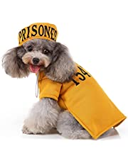 Prisoner Dog Costume Prison Pooch Dog Halloween Costumes, Halloween Costume for Small Medium Dogs, Pet Prisoner Costume with Hat for Halloween Christmas Birthday Party Photo Shoot