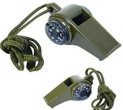 3 in1 Outdoor Camping Hiking Emergency Survival Gear Whistle Compass Thermometer by New