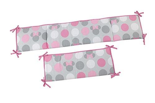 Disney Minnie Mouse Polks Dots 4 Piece Nursery Crib Bumper, Pink, Gray - Dots Pink Crib