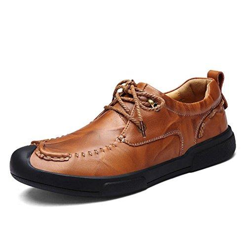 Herrenschuhe Leder Faulenzer Fruumlhling/Herbst Komfort Faulenzer  Slip Ons Herren Wanderschuhe/Driving Schuhe Casual/Outdoor (Farbe : Brass  Größe : 43) Brass