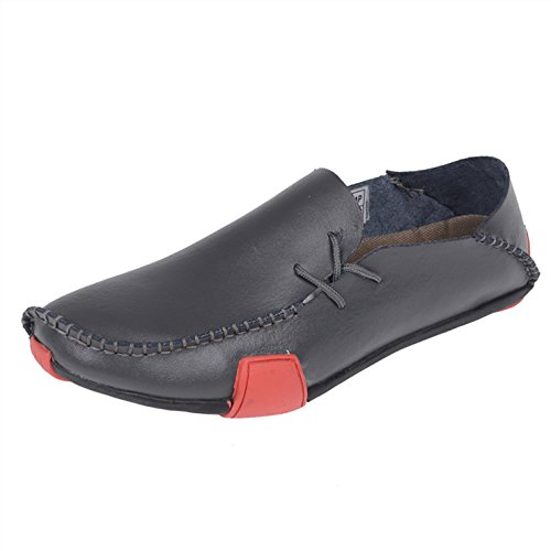 Zapatos De Conducción De Mocasines De Cuero De Ocio Para Hombres Seven Two Grey