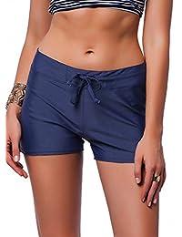 Womens Board Shorts Adjustable Bikini Bottom Swim short Beach Swimwear Trunks