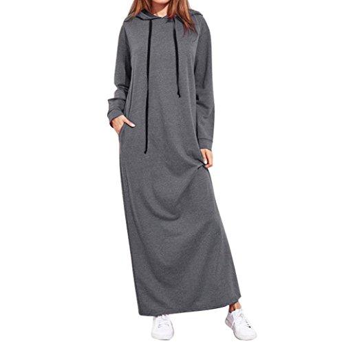 Price comparison product image Women Long Dress Daoroka Ladies Hooded Loose Casual Maxi Skirt With Pocket Long Sleeve Beach Floor-Length Sundress (L,  Gray)