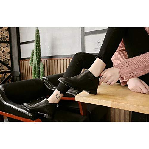 couleur Eu36 Femme Bottines Simple Noir Rétro Ff cn35 Talon 5 uk3 Pointu Size Épais Botte Plat Tqxx7zn