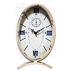 MS Home Antique-Style Metallic White Oval Tabletop Clock, Blue Roman Numeral, 11 H