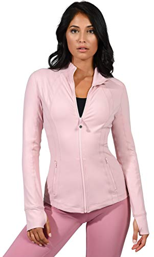 - 90 Degree By Reflex Women's Lightweight, Full Zip Running Track Jacket - Shadow Petal - Medium