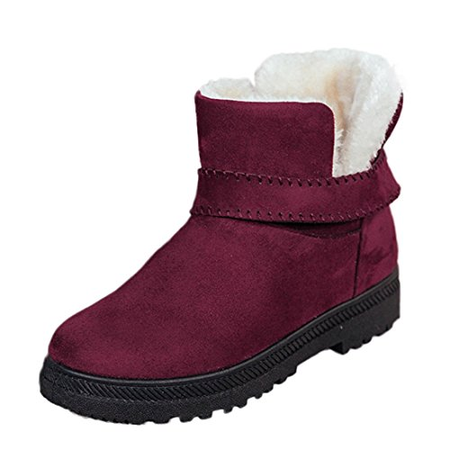 ON O&N Women Girls Round Toe Flat Winter Boot Faux Fur Snow Boot Red c1X5spC76