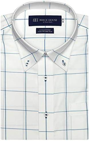 ブリックハウス ワイシャツ 半袖 形態安定 ボタンダウン 綿100% Just Style メンズ BM010201AA46B4V-74