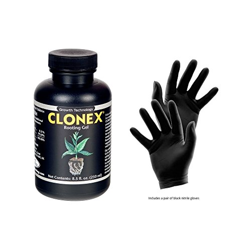 Clonex Rooting Gel 250 mL - Best plant root hormone gel - Useful to make roots grow Faster and Stronger and in cloning machines - Includes gardening gloves for safe and easy rooting - by HYDRO EMPIRE