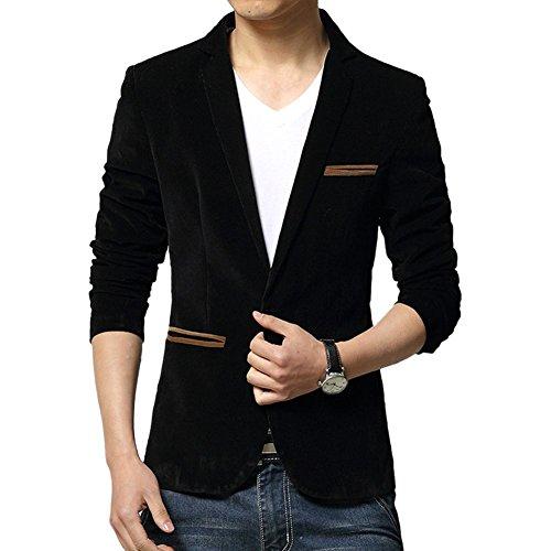 WEI QIU Men's Vintage Velvet Slim Fit Wedding Dinner Tuxedo Casual Blazer Jacket Large Black