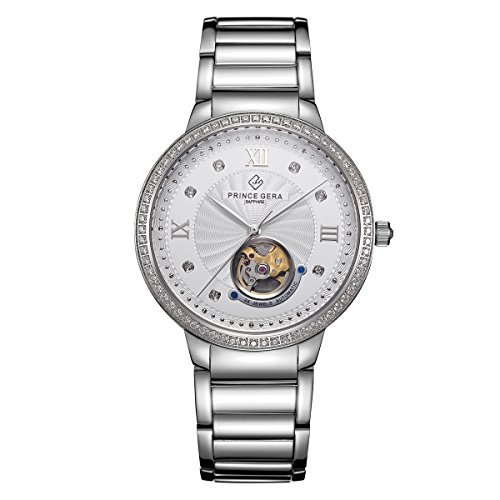 PRINCE GERA Sliver Couple Watch for Men Waterproof Diamonds Automatic Watch Tourbillon by PRINCE GERA
