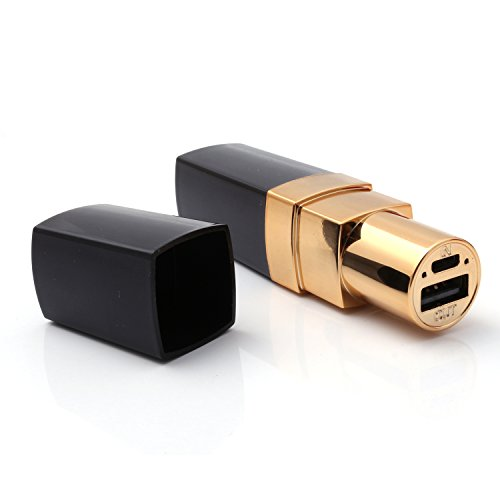 iProtect Lipstick Power Bank 4000mAh Externes Ladegerät in schwarz gold für Smartphones und andere USB-Geräte inkl. Micro USB Kabel