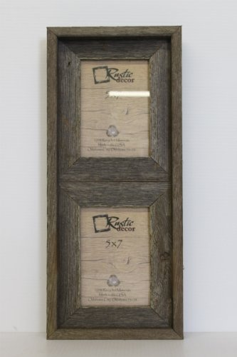 Cheap 5×7 – 2.5″ Wide Reclaimed Rustic Barn Wood Vertical Collage Frame – Holds 2 Photos