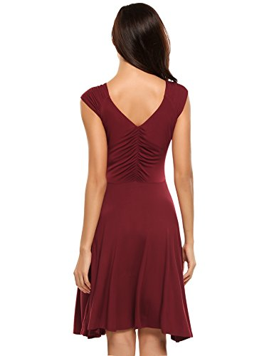 Hotouch Sleeveless Gorgeous Casual Loose Tunic Dress (Wine Red S) by Hotouch (Image #2)