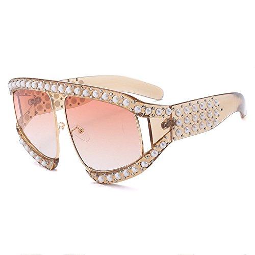 De Gold Anti Gafas Grandes Sol De Pearl UV Gafas Red De De Sol Sol Moda XFqH6zx