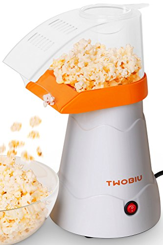TWOBIU Popcorn Machine, Popcorn Maker, Hot Air Popcorn Popper with FDA Approved - Orange