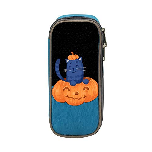 Kids Halloween Pumpkin & Cat Large Capacity Soft Pen Bag with Zipper for Boys and Girls Blue]()
