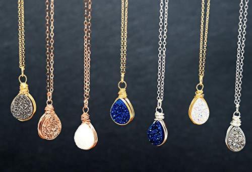 (Teardrop Druzy Agate 14K Gold Filled, Sterling Silver, 14K Rose Gold Filled necklace (Customizable length) )