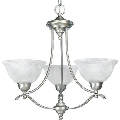 9 Light Chandelier Alabaster Glass (Progress Lighting P4067-09 3-Light Chandelier with Swirled Alabaster Glass, Brushed Nickel)