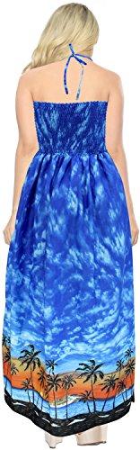 Camiseta el de Las Arriba de Mujeres LA Mangas Largo Tubo baño Azul Noche sin Ropa LEELA g113 la de Vestido Cubre para del de Falda de Maxi Playa Traje wYTEq8Y