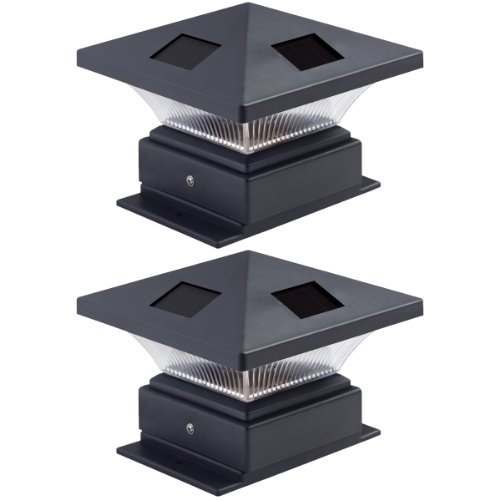 Westinghouse  2 Pack Pagoda II Black Solar Post Cap Lights for 4 x 4 Wood Posts