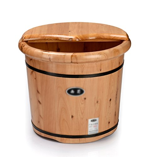 Foot tub Cypress wood foot bath bucket/round Bath foot bath/heightening foot bath bucket (Color : Wood color, Size : 413235cm) (Wood Bucket Bath)