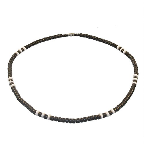 - Black Coco Bead Hawaiian Surfer Necklace with White Pukalet Shell Accents, Barrel Lock (20 IN)