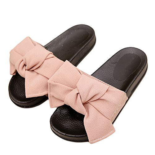 New Women Bow Slippers Hemp Fabric Butterfly-Knot Slides Rubber Flat Sandals Home Slippers Casual Plus Size Women