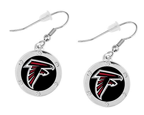 Atlanta Falcons Silver-tone Round Dangle Earrings (Pierced)