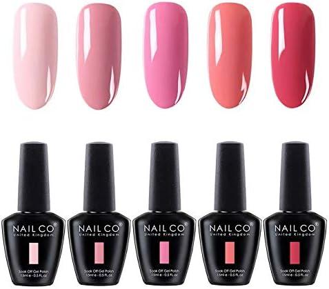 Amazon Com Nailco 15ml Soak Off Uv Led Nail Gel Polish Nail Art Salon Manicure Lacquer Varnish Set Nc501 Of 5 Colors Health Personal Care