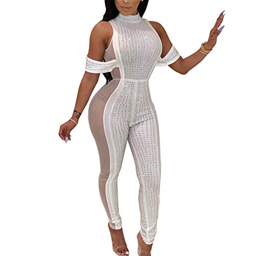 Cercur Womens Sexy Rhinestone Mock Neck See Through Mesh Party Bodycon Jumpsuit Romper Clubwear One Piece Outfits