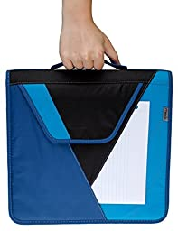 Mead Zipper Binder with Handle with Interior and Exterior Pockets, 2-Inch, Blue (72763)