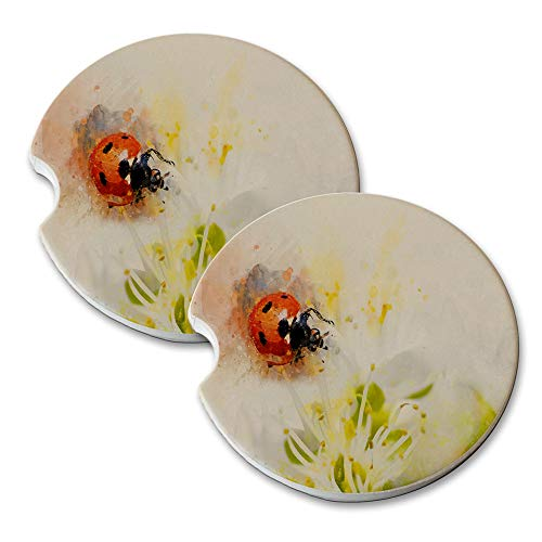 New Vibe Lady Bug Flower Blossom - Round Absorbent Natural Stone Car Coaster Set (Set of 2) Auto Drink Coasters ()