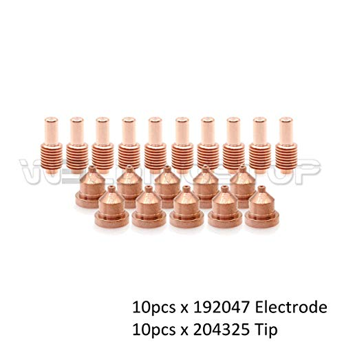 192047 Electrode 204325 Tip 40A for Miller Spectrum 625 Cutter ICE-40C Torch PK-20 ()