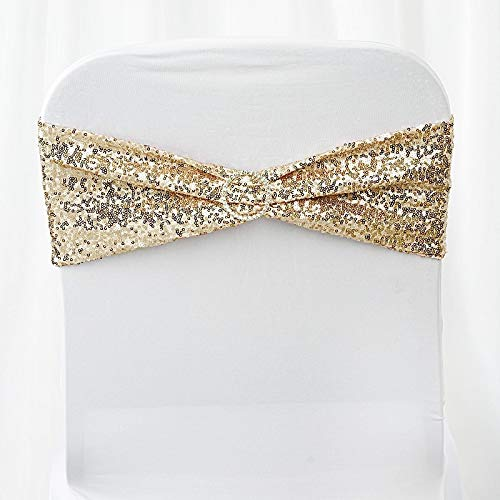 (BalsaCircle 10 Champagne Spandex Sequined Chair Sashes Bows Ties - Wedding Party Ceremony Reception Decorations Supplies)
