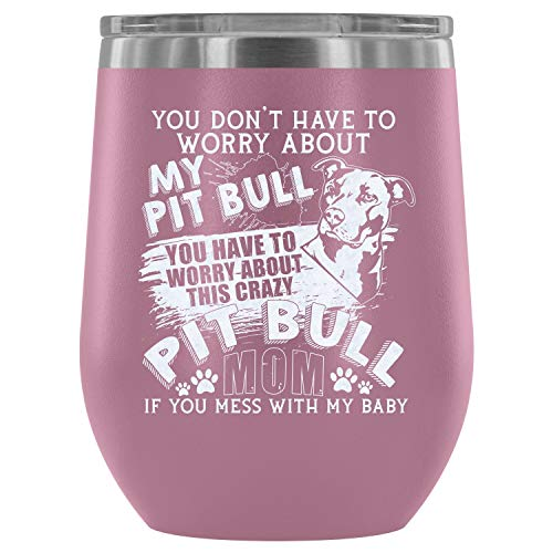 Stainless Steel Tumbler Cup with Lids for Wine, Pit Bull Mom Wine Tumbler, I Love Pit Bull Vacuum Insulated Wine Tumbler (Wine Tumbler 12Oz - Light Purple) ()