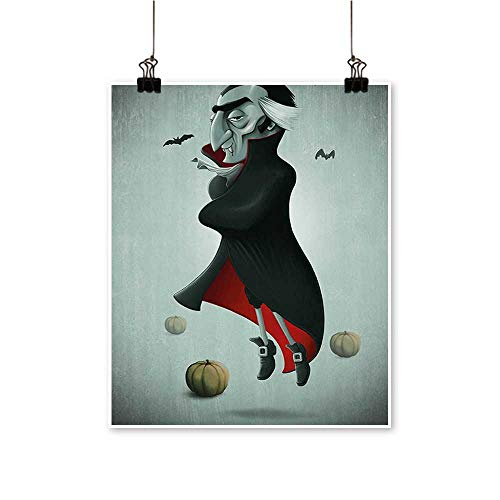 Panels Painting on Canvas Night Pumpkins and Old Vampire Cape Flying Bats Black ALM Green Red Artwork for Kitchen Room,20