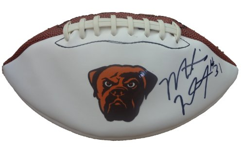 Montario Hardesty Autographed Cleveland Browns Logo Football W/PROOF, Picture of Montario Signing For Us. Tennessee Volunteers - Tennessee Volunteers Brown Football