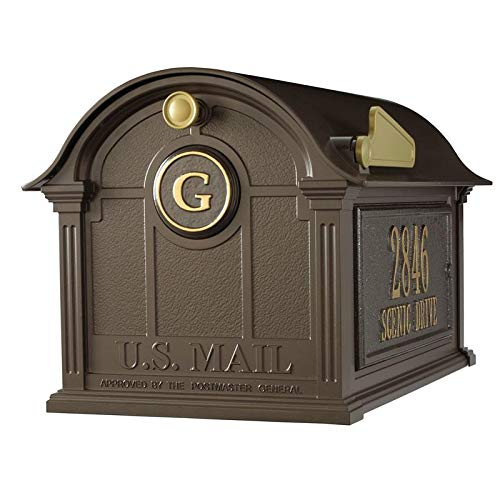 (Whitehall Products 16366 Aluminum Balmoral Mailbox Side Plaques and Monogram Package Bronze)
