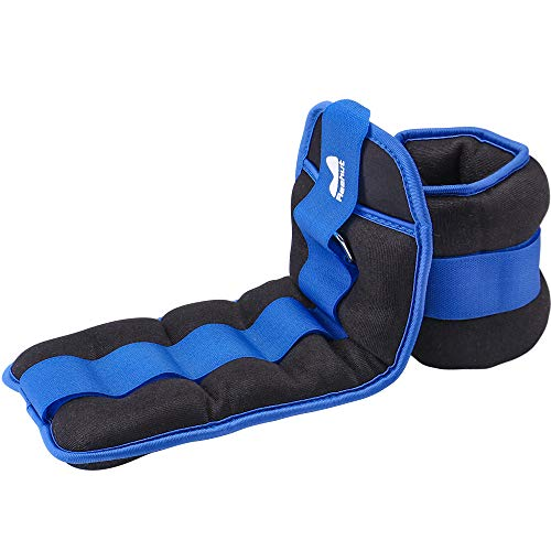 REEHUT Ankle Weights, Durable Wrist Weight (1 Pair) w/Adjustable Strap for Fitness, Exercise, Walking, Jogging, Gymnastics, Aerobics, Gym - Blue - 4 lbs Pair (2 lbs Each)