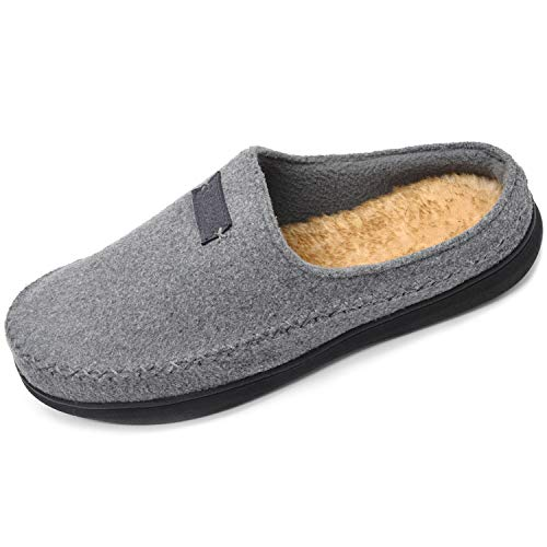 Zigzagger Western Indoor Grey Faux On House Slippers Clog Moccasin Foam Wool Men's Slip Outdoor nbsp;Style Memory fqqrtw