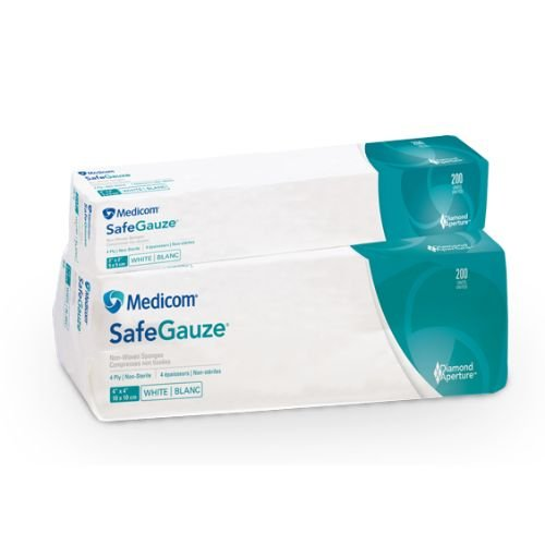 Medicom 4544 SafeGauze Sponges, Non-Woven, 4-Ply, 4'' x 4'' Size (Pack of 2000) by Medicom
