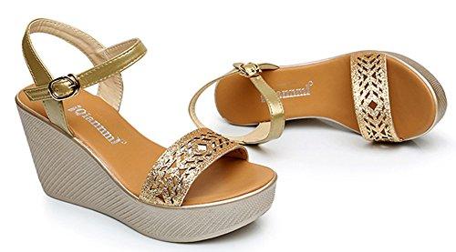 Sandales Bout Mode Epouse Or Ouvert Pente Strass Aisun Femme Plage 1EqBw8